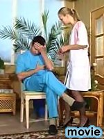 Filthy nurse in classic stockings knows well how to examine mighty boner