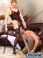 Smashing chick in lace top hold-ups getting her pussy licked and drilled