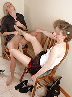 Outrageous kiss-n-lick action with nasty babes in barely visible pantyhose