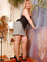 Angel in office outfit and skinned colored stockings