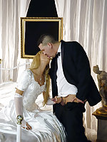 Janet gets laid in her wedding gown and white stockings