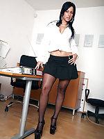 Office babe Iris teasing in her stockings