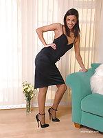 Dark skinned beauty wearing the finest high heels