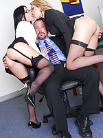 Two hot office sluts Rebecca Linares and Jenny Hendrix
