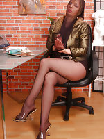 Angel at the office with black pantyhose mask