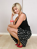 Gorgeous blonde heel lover Naomi shows her sexy legs with an increment of stilettos around the house