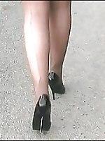 Shelley in bright red stiletto heels