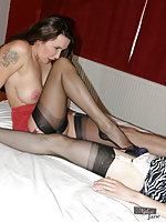 Horny crossdresser caressing and kissing Janes firm tits