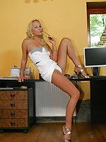 Blonde secretary slut Carla Cox fucking at work