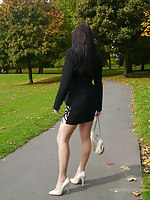 Leggy Imelda takes a bet on a support stranger her on the go spry day and takes a stroll in the park wearing her gorgeous stilettos