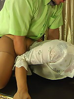 Nasty blonde in shiny hose giving hot pantyhosejob and playing numbers game