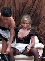 Horny babes trying on a new pair of tights and playing freaky numbers game