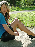 Sexy outdoor shoot with this horny blonde in high heels