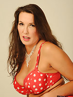 Jane looks fantastic in her spotted red lingerie set