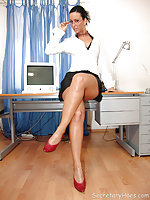 Secretary Simone strips in the office into red heels