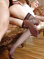 Lusty chick in stiletto heel shoes getting her open toe pantyhose creamed