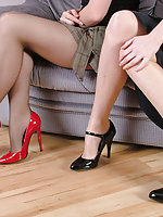 Red heels and unscrupulous heels worn by two babes