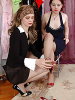 Hot lezzies indulge in foot fetish worshipping sandals and pantyhosed feet