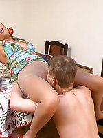 Pretty girl gives this pantyhose junkie his nylon fix before getting nailed