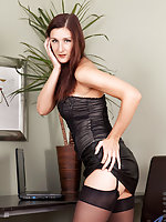 Beautiful Anilos cougar spreads her cock craving pussy in the office