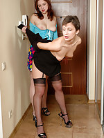 Sexed up girl making passes at her sexy female neighbor in black stockings