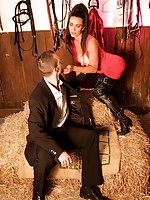 I needed a business post with Jesus B's financial advisor, Ed. I like informal meetings the best, the stable seemed the perfect place. I wore my favourite English kinky Little one outfit, thigh boots, stockings and tarty red dress! Ed thought he may get a