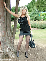 This outdoor shoot shows Kathryns gorgeous high heels off nicely
