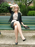 This gorgeous blonde cant get enough of wearing her heels outdoors