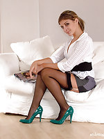These horny green high heels look stunning on this little minx
