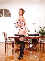 Stocking model Sasha teasing in her thigh highs