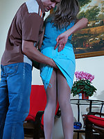 Cute babe in sheer white pantyhose getting creamed after hardcore banging