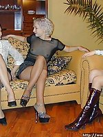 Brunette, redhead and blonde ladies - all in nylon pantyhose.