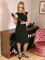 This horny babe has so many pairs of stiletto heels to choose from