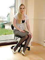 Sexy blonde Secretary Toni shows you around her home assignation regarding a pair of unconscionable nylons increased by cream stilettos