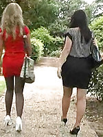 Two horny girlfriends take a stroll in their high heel stilettos.