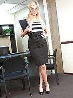 Hot blonde office slut Victoria fucking her boss