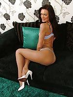 Leggy Eva shows off her sexy figure plus white lingerie plus high stiletto shoes