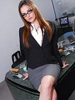 Hot office babe Tori Black in a sexy secretary outfit