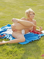 Blonde Kathy Winters teasing outdoors in vintage stockings